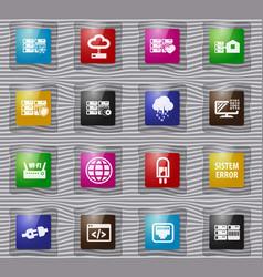 Server glass icon set vector