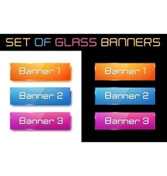 Set of glass orange blue and purple banners vector