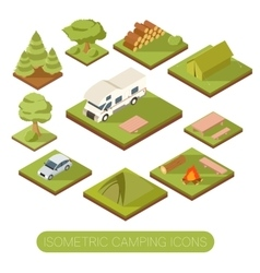 Set of isometric camping icons vector