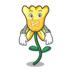 Silent daffodil flower mascot cartoon vector