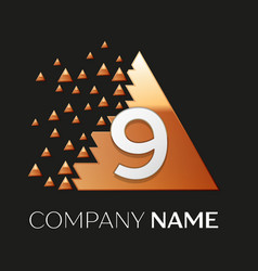 Silver number nine logo in pixel triangle shape vector
