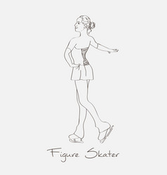 sketch figure skater vector image