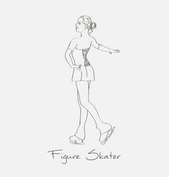 Sketch figure skater vector