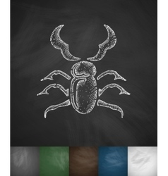 Stag-beetle icon Hand drawn vector