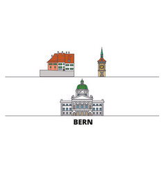 Switzerland bern flat landmarks vector