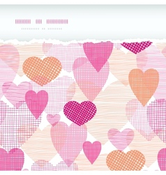 Textured fabric hearts torn horizontal seamless vector image
