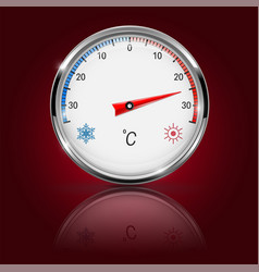 thermometer on red background with reflection vector image