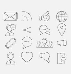 Thin social icon set vector