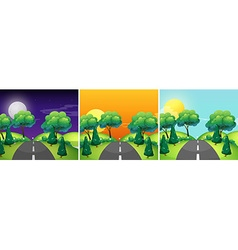 Three scenes of countryside at different time of vector