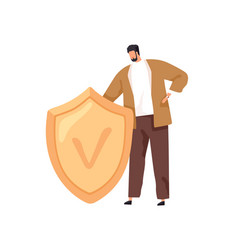tiny person standing with safe shield as symbol vector image