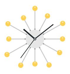 wall clock with knitting needles and balls icon vector image
