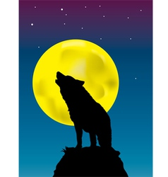 Wolf howling at the moon background vector