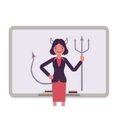 Woman against the whiteboard with drawn devil vector