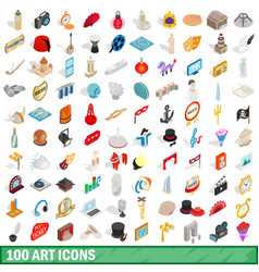 100 art icons set isometric 3d style vector image