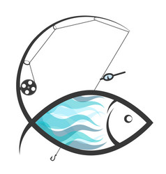 fish and fishing rod vector image vector image