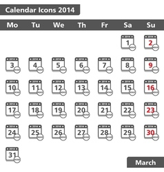 March 2014 Calendar Icons vector image