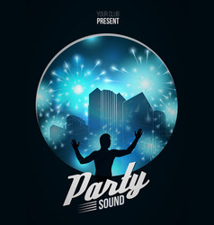 party dance poster background template with dj vector image