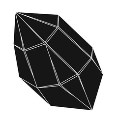 Rough gemstone icon in black style isolated on vector