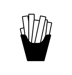 Silhouette monochrome with fries portion vector