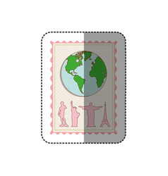 sticker color pastel frame with world map and set vector image vector image