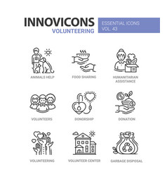 volunteering - modern line icons set vector image vector image