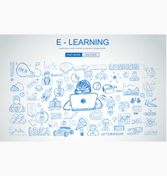 e learning concept with business doodle design vector image