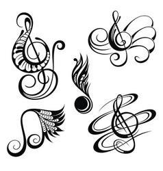 music notes design elements set vector image