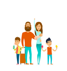 traveling happy family vector image vector image