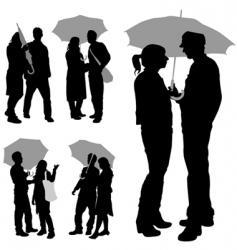 couple under umbrella vector image vector image