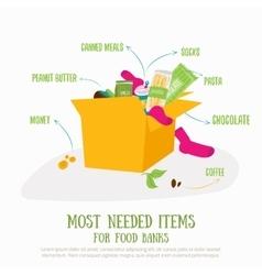 Food donation box concept most vector