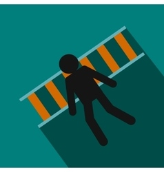 Man laying on railroad tracks icon flat style vector