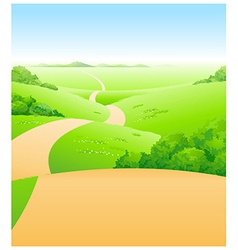 Path over green landscape vector
