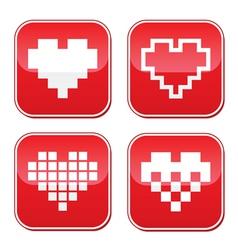 Pixel heart love buttons set vector image