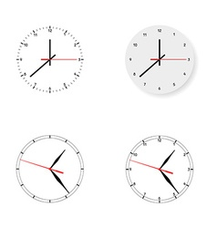 Set of 4 modern watches black round dials on white vector image vector image