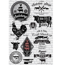 set of labels for Butcher on brick wall vector image