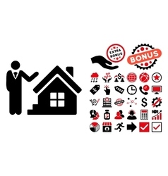 Realty Agent Flat Icon with Bonus vector image