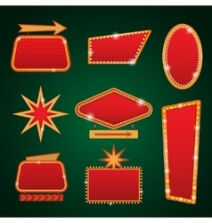 Set of golden lights casino banners copy space vector image vector image