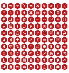 100 anatomy icons hexagon red vector