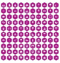 100 scenery icons hexagon violet vector image