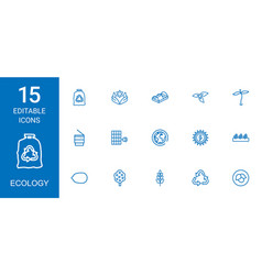 15 ecology icons vector