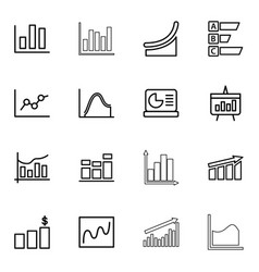 16 statistic icons vector image