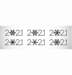 2021 new year black snowflake set vector