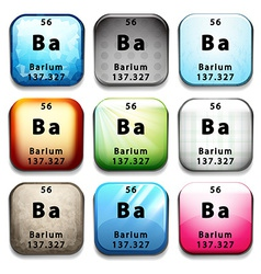 A button with the chemical element barium vector