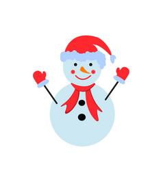 a snowman in the color icon winter person vector image