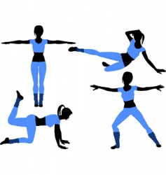 aerobics silhouettes2 vector image