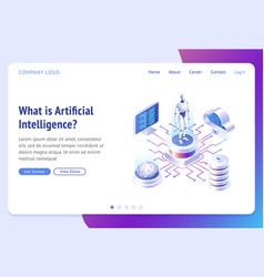 ai artificial intelligence isometric landing page vector image
