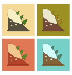 Assembly flat icons snow avalanche spruce vector