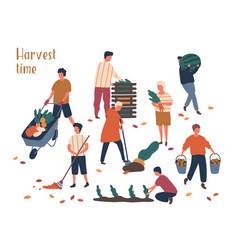 Autumn harvest time flat set vector