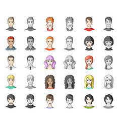 Avatar and face cartoonmonochrom icons in set vector