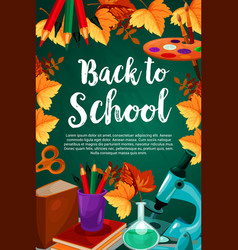 Back to school chalkboard stationery poster vector